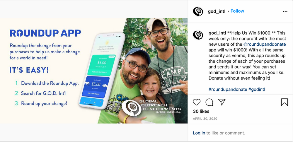 G.O.D. International Giving Tuesday Now Instagram post promoting RoundUp App